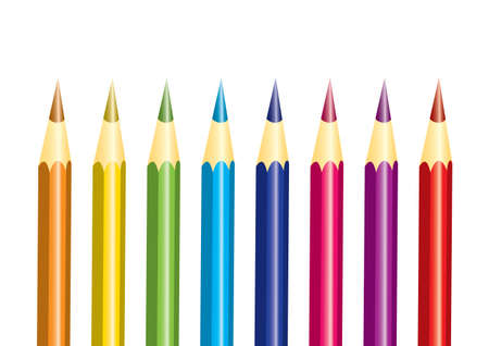 Set of rainbow colored pencils isolated over white Illustration