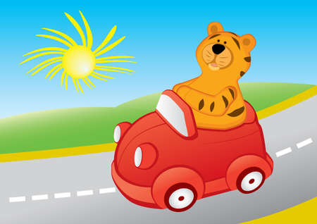 Cartoon tiger is travelling in a red car Vector