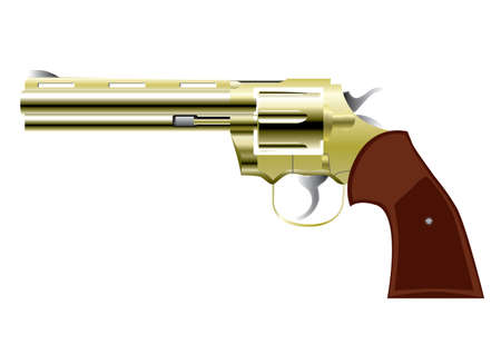 revolver gun in western style isolated over white Stock Vector - 6982484