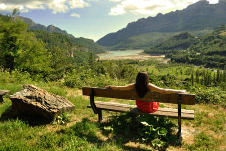 Woman enjoying the scenery  photo