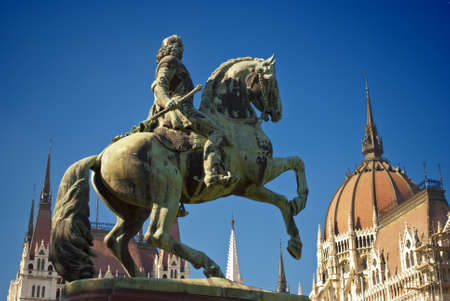 Statue in front of the Parliament in Budapest  Hungary  photo