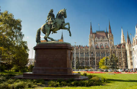 neo gothic: Statue in front of the Parliament in Budapest  Hungary