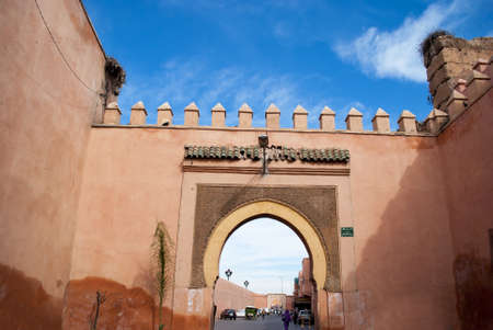ramparts: Old city wall with gate in Marrakech