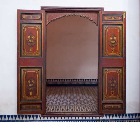 Old door in the Bahia Palace of Marrakech