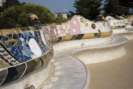 guell: Park Guell in Barcelone, Spain