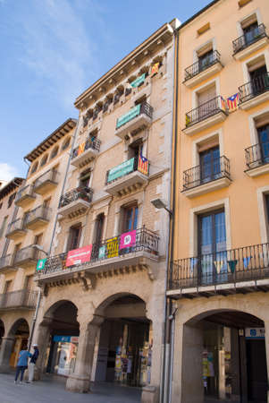 VIC,SPAIN  - SEPTEMBER 03, 2017: Numerous independence flags flood the balconies in the main square of Vic, catalonia, Spain on September 03, 2017 Editorial