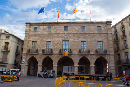 MANRESA ,SPAIN  - SEPTEMBER 03, 2017: Numerous independence flags flood the balconies in the town hall square of Manresa, catalonia, Spain on September 03, 2017 Editorial