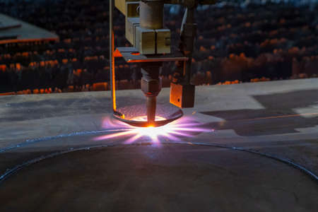 Gas cutting of sheet steel on a machine with numerical control.
