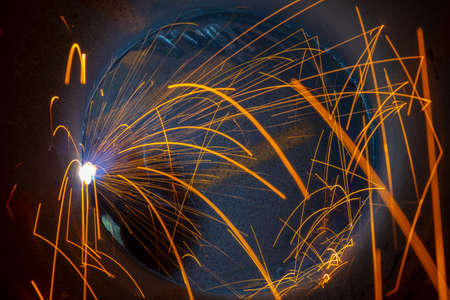Welding inside the pipe. The work is performed by semi-automatic arc welding. MIG welding.