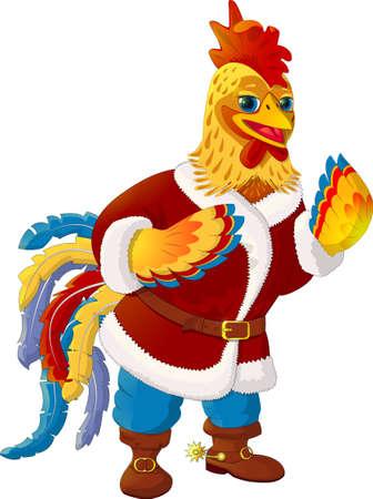 anthropomorphic: Rooster - Santa Claus. Illustration