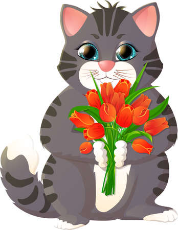 grey cat: Kitten with a bouquet of flowers