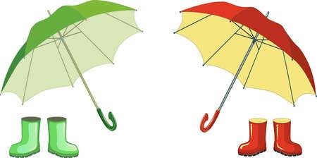 Botas de goma verdes rojas, paraguas