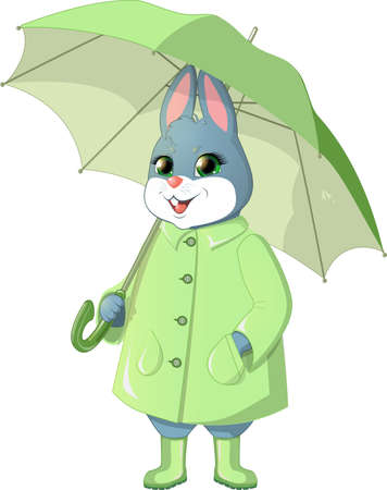 damp: Bunny with green umbrella