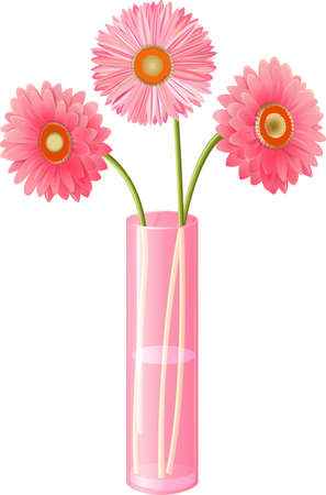 Pink gerberas in a vase Illustration
