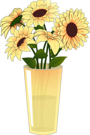 Yellow Flowers In A Yellow Vase Royalty Free Cliparts Vectors And