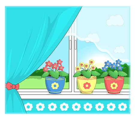 Flowers in pots on the windowsill. Illustration