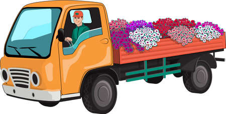 Truck transports flowers. Illustration