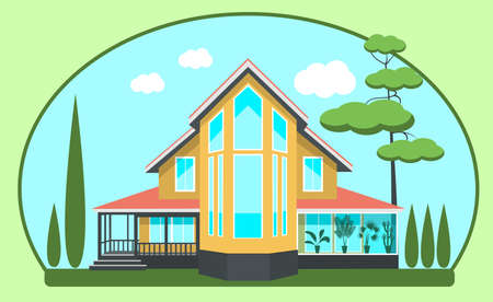 cypress: Modern cottage, winter garden evergreens Against the blue sky