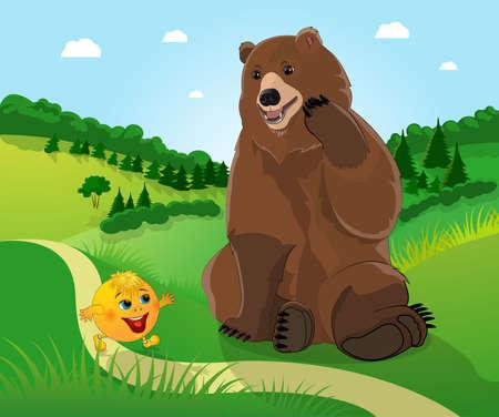 boastful: Bear and bun kolobok . Illustration
