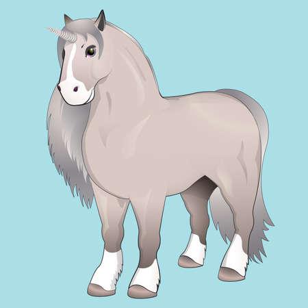 speculative: Unicorn with silver mane.