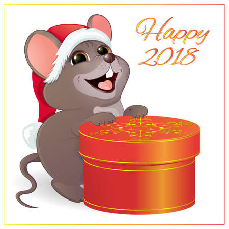A small funny mouse with a large, round, red gift box.