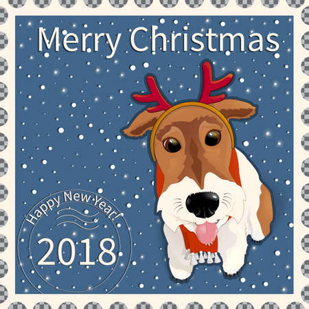 Postage stamp with a dog fox terrier, with comic horns of a deer. Symbol of the New Year 2018 and Christmas, according to the Eastern calendar. On a pixel background with snowflakes. Vector illustration