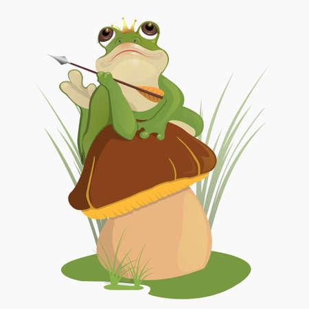 The princess frog sits on the mushroom Illustration