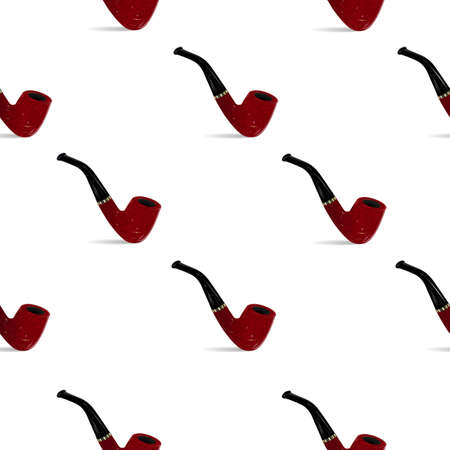 Seamless pattern with smoking pipes on a white background.