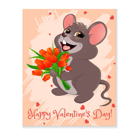 Mouse with red tulips illustration. Illustration