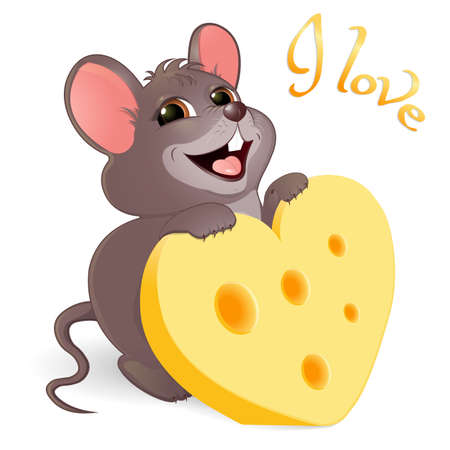 Gray mouse with cheese in the form of a heart and the inscription I love . Greeting card on Valentine s Day. A smiling rodent loves cheese. Isolated on white background. Banner. Vector illustration. Illustration