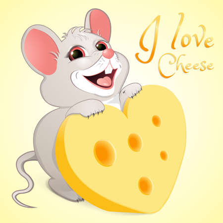 White mice with cheese in the form of heart and the inscription I love . Greeting card on Valentine s Day. A smiling rodent loves cheese. Isolated on a yellow background. Banner. Vector illustration.