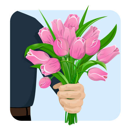 The man gives flowers