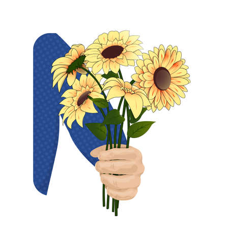 Yellow coreopsis in the hand Illustration