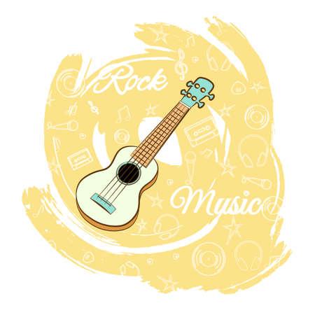 ギターロックミュージックイラスト。  イラスト・ベクター素材