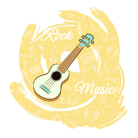 Guitar rock music illustration.