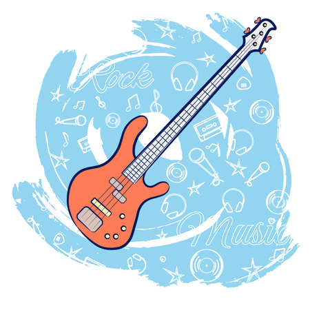 Guitar on an abstract blue background. Stringed instrument. Linear images of a cassette, a mediator, a vinyl, a star. For the design of music stores, rock music festivals. Vector illustration. Vetores