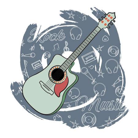 抽象的な暗い背景にギター。弦楽器。カセット、メディエーター、ビニール、星の線形画像。