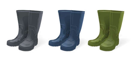 Different Color of Rubber boots set, isolated on white
