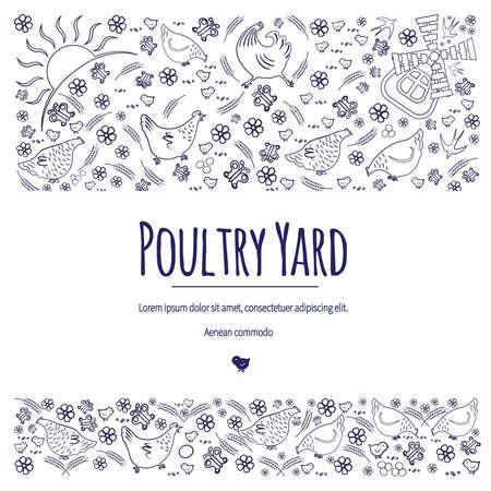 Poultry yard banner design vector illustration