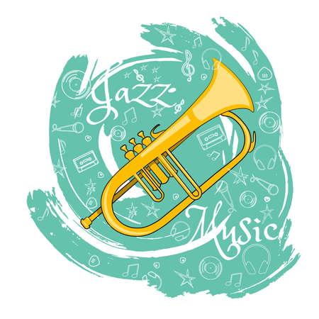 Trumpet Wind musical instrument. Jazz instruments, on an abstract green background. With additional particles, musical attributes Vector illustration.