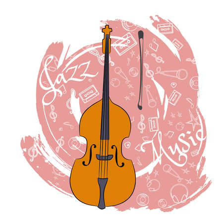A cello Stringed musical instrument. Jazz instruments, on an abstraction pink background. With additional particles, musical attributes  Vector illustration.