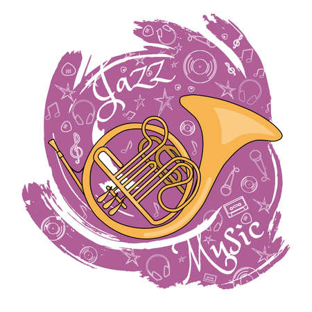 French horn, wind musical instrument. Jazz instruments, on an abstract red background with additional particles, musical attributes vector illustration. Illustration