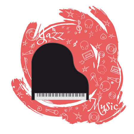 Grand Piano Stringed-keyboard musical instrument. Jazz instruments, on abstract blue background. With additional particles, musical attributes Vector illustration.