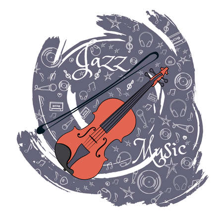 Violin Stringed musical instrument Jazz instruments, on an abstract blue-gray background. With additional particles, musical attributes. Vector illustration.