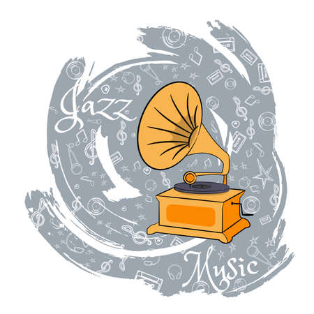 The gramophone. Tool for listening vinyl records. Listen to music. On an abstract gray background with musical particles. Vector illustration.
