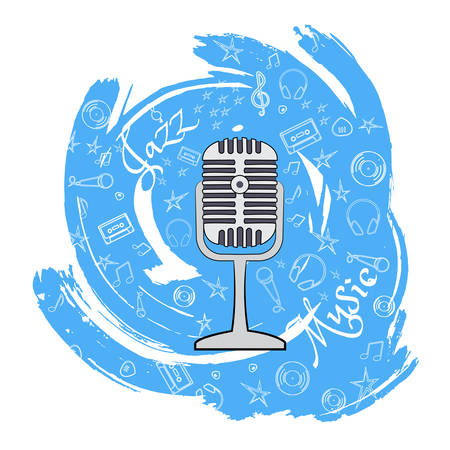 Microphone A device that converts sound vibrations into electrical vibrations to transmit sounds over a distance. On an abstract blue background with musical particles. Vector illustration.