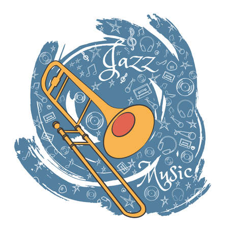 Trombone. A musical musical instrument. Jazz instruments, on an abstract gray background. With additional particles, musical attributes. Vector illustration. Illustration