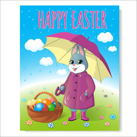 Easter bunny poster with basket-06