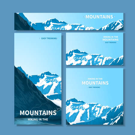 Banners and business cards with mountains 일러스트
