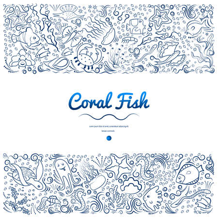 Frames with coral fish vector illustration. Illustration